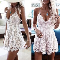 Hot Sale Thick Long Hot Deal Spaghetti Strap Jumpsuit Sexy Backless Lace False Eyelashes [11182506951]
