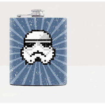 Stormtrooper flask Gift for him Hip flask Gift for men 21 birthday gift Gifts for guys Guys birthday gifts Gifts for boyfriend Whiskey Pixel