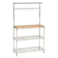 Seville Classics UltraZinc 36 in. W Bakers Rack Work Center with Rubber Wood Top-SHE16369Z - The Home Depot