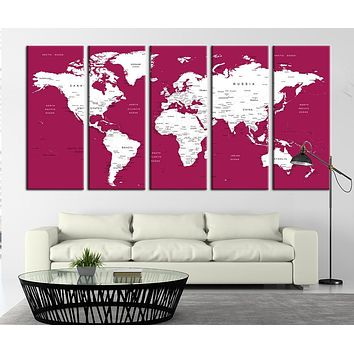 Typographic World Map with Merlot Background Canvas Art Print World Map on Merlot Oceans Canvas