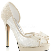 Fabulicious D'orsay Ivory Lace Peep Toe Pumps