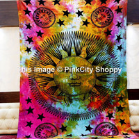 Tie Dye Sun And Moon Tapestry, Sun Moon Stars Tapestry Wall Hanging, Hippie Wall Hanging, Bohemian Tapestries, Beach Throw Sheet Blanket Art