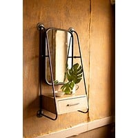 Metal Wall Mirror With Drawer