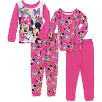 Minnie Mouse Toddler Girl Minnie and Friends Cotton Tight Fit Pajamas 4pc Set - Walmart.com