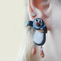 fake gauge plug two part earrings black penguin never give up , Polymerclay, handmade