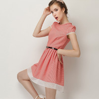 Red Patterned Cap-Sleeve Pleated Dress With Belt