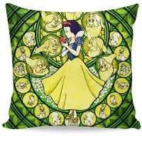 Snow White Stained Glass Couch Pillow