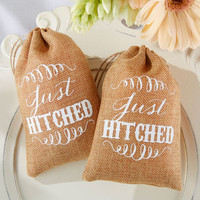 Just Hitched Rustic Country Burlap Favor Bags for Wedding