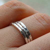 SET OF 3 sterling silver stacking band  rings textured hammered, sizes 4, 5, 6, 7, 8, 9, 10, 11, 12