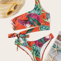 Tropical One Shoulder Tie Side Bikini Set