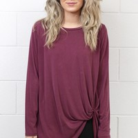 Long Sleeve Get Twisted Modal Top {Berry}