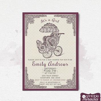 Vintage baby shower invitation card, Victorian printable baby shower invitation, Rustic baby shower invite with baby buggy, purple invite