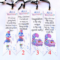Alice Bookmark, 4 to choose from Alice and Wonderland quotes, Unique bookmark  Handmade, Bookmark canvas print