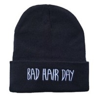 Knit Black Bad Hair Day Beanie Hat Letter Beanie