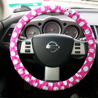 Hot Pink with White  polka dots Steering Wheel Cover by mammajane