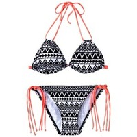Junior's 2-Piece Triangle Top Swimsuit -Geometric Print