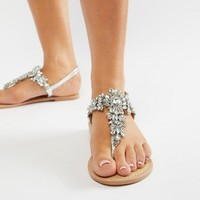 ASOS DESIGN Fairlight Leather Extra Wide Fit Embellished Flat Sandals at asos.com