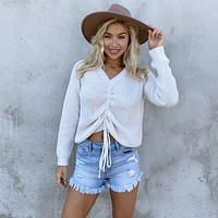 Always Fun Cinched Knit Sweater in Ivory