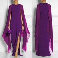 Womens O-Neck Batwing Sleeve Occasion Gowns Long Dress