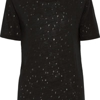 T by Alexander Wang Distressed jersey T-shirt – 50% at THE OUTNET.COM