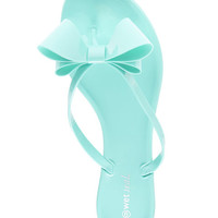 Big Bow Jelly Sandals | Wet Seal