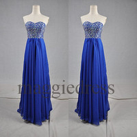 Custom Royal Blue Crystals Long Prom Dresses Evening Gowns Formal Party Dress Bridesmaid Dresses 2014 Cocktail Dresess Formal Wear