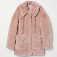 Faux Fur Jacket - Dusty rose - Ladies | H&M US