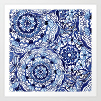 Delft Blue Mandalas Art Print by noondaydesign