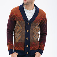 Southwestern-Patterned Shawl Collar Cardigan Navy/Red