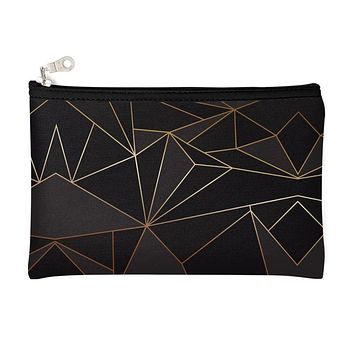 Abstract Black Polygon with Gold Line Pencil Case by The Photo Access