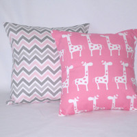 """18 """" x 18"""" Gray and Pink Chevron Zig Zag, Pink Giraffes Decorative Pillow Covers Home Decor Baby Nursery Baby Girl Set of 2"""