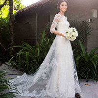2015 new long sleeved lace tail wedding dress Korean Princess Bride New Stock White Wedding Dress Bridal Gown 1924251717