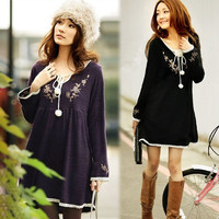 Fashion Vintage  Embroidery Laciness Knitted One-piece Maternity Dress New8H H_T (Color: Black) = 1946280068