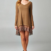 Ava Light Weight Oversized Sweater with Lace: Taupe