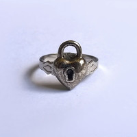 Heart Padlock Ring / Lock Rings / Adjustable Metal Ring / Heart Ring / Vintage Inspired Jewelry / One of a Kind / OOAK / Exentricity