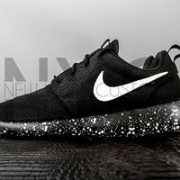 Oreo Nike Roshe One Run Black White Splatter Speckle Custom
