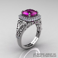 High Fashion 14K White Gold 3.0 Ct  Amethyst Diamond Designer Wedding Ring R407-14KWGDAM