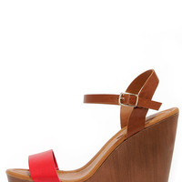 High Jinks Cherry Red and Tan Platform Wedge Sandals