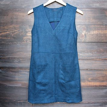 I Suede It Sleeveless Dress in Navy