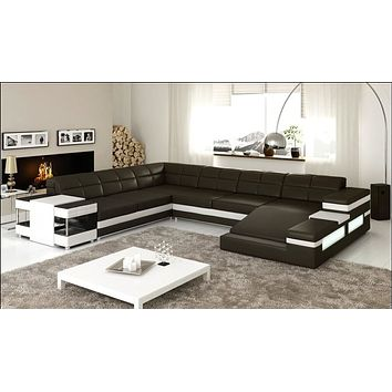 Royal Black Sectional Spacious Sofa Set