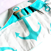 Makeup Brush Roll-Up Case in Aqua and White with Retro Anchor Print, Tie Up, Lined, Sectioned Costmetic Case, Art Supplies, Paint Brushes