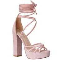 Tamia Pink Suede Lace Up Platform Heels : Simmi Shoes