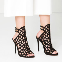 OPENWORK LEATHER SANDALS - New in-SHOES-WOMAN   ZARA United Kingdom