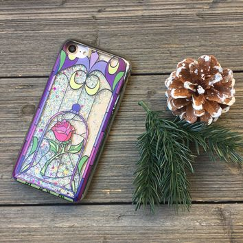 Enchanted Rose Silver Confetti and Chrome Border iPhone Case