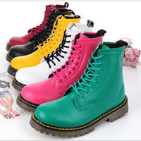 Leather Combat Boots LaceUp Military Work Womens Flats Shoes Punk Ankle Boots