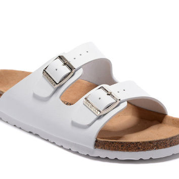 2017 Birkenstock Summer Fashion Leather Cork Flats Beach Lovers Slippers Casual Sandals For Women Men Couples Slippers All White