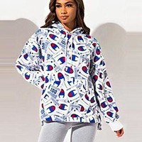 Champion Popular Women Casual Full Logo Print Hoodie Sweater Sweatshirt