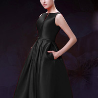 Black Plunge Neck Bowknot Waist Lacing Back Midi Prom Dress