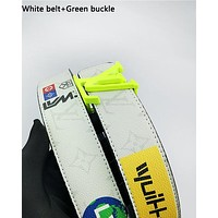LV hot fashion casual men's and women's belt color print belt White belt+Green buckle