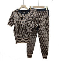 Fendi Women Short Sleeve Pants Two-Piece